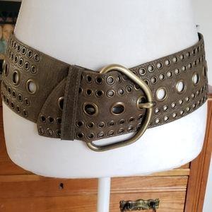 STREETS AHEAD Olive Green Leather Grommet Hip Belt